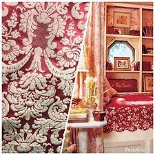 SALE! 100% Silk Taffeta Damask Interior Design Fabric - Rouge Red