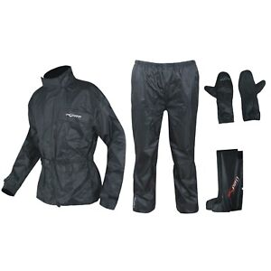 Waterproof Motorcycle Apparel 4 pc Rain Suit Jacket Trousers Gloves Boots