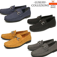 Mens Leather Shoes Suede Office Work Smart Slip On Lace Up Loafers Wedding Size