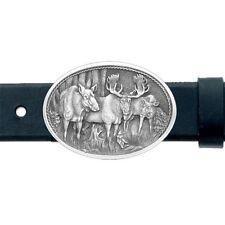 Moose BELT Buckle 3 Moose Solid PEWTER Oval w/Gift Box