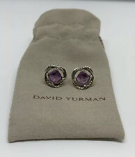 David Yurman Infinity Sterling Silver Post Stud Cable Earrings Faceted Amethyst