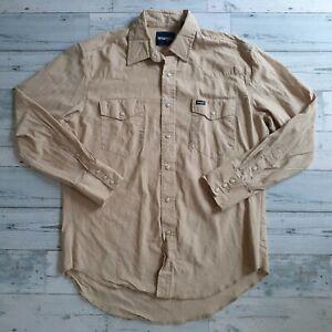 Wrangler Mens Large Khaki Western Cowboy Pearl Snap Long Sleeve Work Shirt EUC