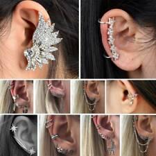 Women's Crystal Clips Ear Cuff Stud Punk Wrap Cartilage Earring Jewelry Fashion