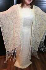 Kay Unger New York Sz 10 Sleeveless Evening Gown with Tassal Shawl Cream Floral