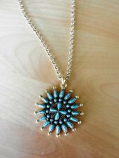 Lucky Brand Turquoise Squash Blossom Pendant Necklace MSRP $49