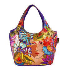 Laurel Burch Blossoming Woman Foiled Canvas Small Scoop Tote Handbag Purse