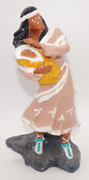 VINTAGE PROVINCIAL MOLD NATIVE AMERICAN INDIAN WOMAN WITH BABY CHILD FIGURINE