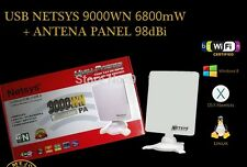 ADAPTADOR WIFI USB 9000WN 6800mW NETSYS ANTENA PANEL 98dBi 2016 mejor que 6800MW