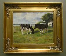 Vintage Danish Oil Painting, Landscape Cows, Signed Viggo Gadegaard (1918-1987)