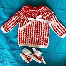 NOUVEAU bébé,brassière-chaussons NAISSANCE rouge et blanc laine hypoallergénique