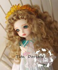 Bjd Doll Wig 1/4 7-8 SD MSD AOD DZ LUTS Dollfie brown curly Toy Head Hair