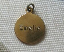 Vintage Dionne Quintuplet brass Name pendant Emelie