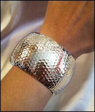 """NEW SILVER CLASSIC EXTRA THICK CHUNKY HAMMERED TEXTURED 3"""" BANGLE BRACELET"""