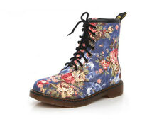 NEW LADIES WOMENS FLORAL LOW HEEL ANKLE BOOTS LACE UP HIGH TOP RETRO SHOE SIZE