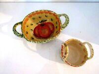 "Italica ARS Italian Art Pottery Small Handle Snack/Candy Bowl Pumpkin 7"" & 3.5"""