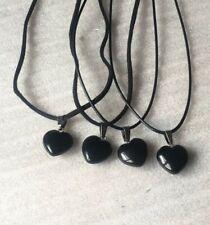 Small Heart shaped Black Onyx gemstone pendant and Cord Chain Jewellery Unisex