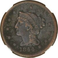 1844, 1c, Large Cent - Braided Hair - Corrosion - NGC XF Details