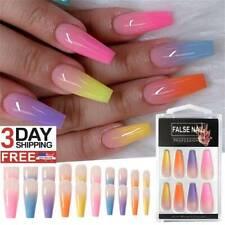20pcs/Set Long Coffin Fake Nails European Rainbow Ballerina Full Nail Art Tip