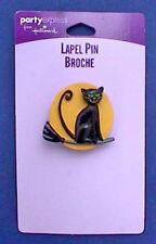 BUY1&GET1@50%~Hallmark PIN Halloween MOC CAT BLACK Broom w FULL MOON Vtg Holiday