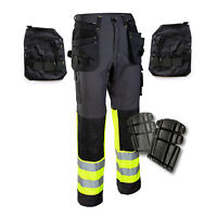 WORK TROUSERS Detachable Multi-Function Pockets Heavy Duty Pants Knee-Pad Option