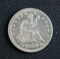 1854 Seated Liberty Quarter Arrows EF++ Silver, Great detail Liberty, Rim, Eagle