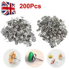 200PCS 4/6/8mm Earring Stud Posts Pads and backs Hypoallergenic Surgical Steel A