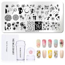 3Pcs/Set NICOLE DIARY Nail Art Stamping Plates Dandelion Stamper Scraper DIY Kit