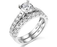 3.05 Ct Round Cut Engagement Wedding Ring Set Real 14K White Gold Matching Band