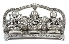 Silver Laxmi Ganesha Saraswati Idol Brass Statue Decorative Sculpture