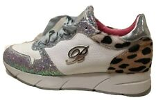 Blumarine leopard print calf hair sneakers with glitter accents made in Italy