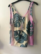 ADIDAS ORIGINALS Printed jersey tank  £ 32 NEW UK 6 XS vest oversize fit palm