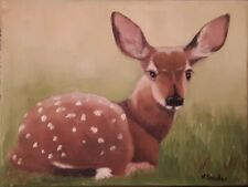 Original Fawn Painting Deer Oil Painting 6X8 Canvas by Karen Snider