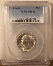 1936-D Washington Silver Quarter MS63 PCGS Early, Better Date in Mint State