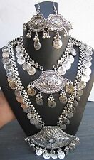 Boho Long Necklace Chain Coin Metal Vintage Silver Statement Jewelry Gypsy Hippy