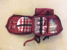 A Brand New Four Person Haversack Picnic Set in Red.