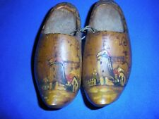 Vintage Wooden Shoes, Pair, Painted Windmills, Holland, Amsterdam (: