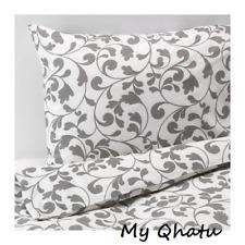 IKEA ROSTVIN Twin Duvet Cover and pillowcase Set White Gray Design  New