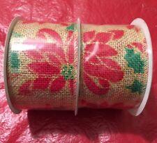 "2 Rolls Christmas Wired Edge Burlap Ribbon 2.5"" X 15 Ft"