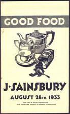 SAINSBURY'S 16-Page Good Food Pricelist, August 1933. Free UK Post