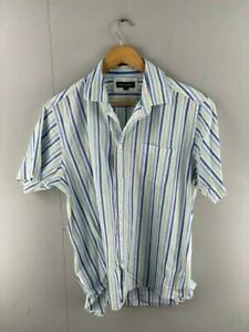 Duchamp Mens Blue Yellow Striped Cotton Short Sleeves Button Up Shirt Size Large