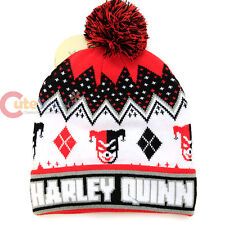 DC Comic Harley Quinn Beanie Intarsia knitted Cuff Pom Beanie Hat Cap
