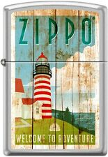 Zippo Lighthouse, Welcome To Adventure, On Weathered Fence Boards Satin Chrome