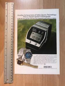 Seiko LC Digital Quartz Alarm Chrono 1977 Advertisement Pub Ad Werbung