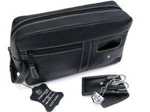 HK Style (R) Kulturbeutel Kulturtasche Waschbeutel + Maniküretui Leder schwarz