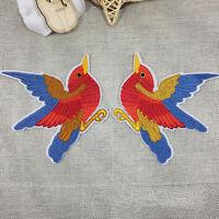 2× Vogel Aufnäher Bügelbild Applikation Flicken Schmetterling Bügelbilr Fas A8P6