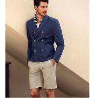 Summer Navy Short Men's Suit Causal Double Breasted Coat Slim Fit Regular Custom