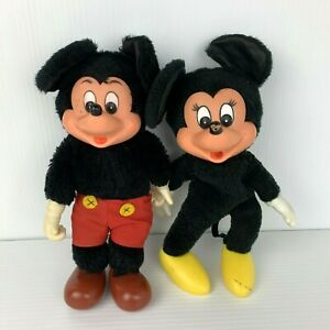 Vintage Disney Mickey & Minnie Mouse Plush Toys Young Epoch Plastic Faces 25 cm