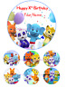 """Word Party 6"""" Birthday Cake Cupcake Toppers Edible Icing Wafer Uncut Decorations"""