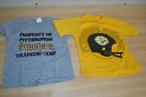 VTG 70s/80s Pittsburgh Steelers Gray Baby/Toddler/Child Single Stitch Shirt Lot