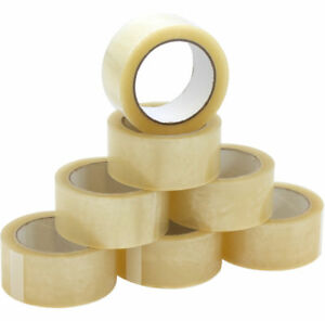 6 CLEAR STRONG PARCEL PACKING TAPE CARTOON SEALING 48MM X66M SELLOTAPE PACKAGING